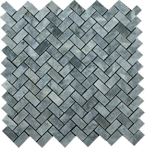Mosaic Herringbone Blue Stone