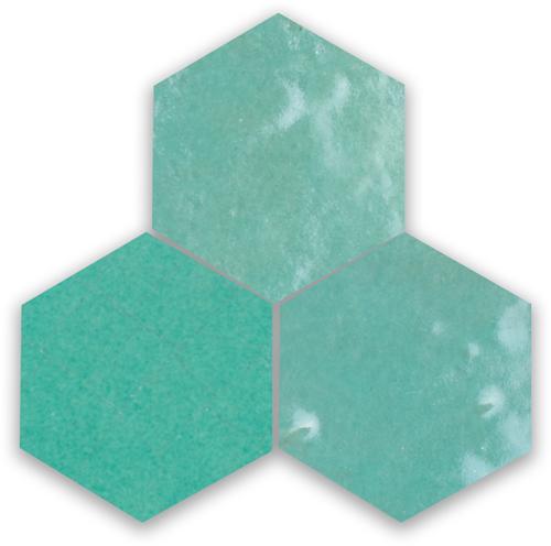 Zellige Vert Turquoise Hexagone