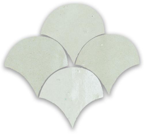 Zellige Blanc Poisson Echelles 10x10cm