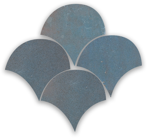Zellige Gris Aubergine Poisson Echelles 10x10cm