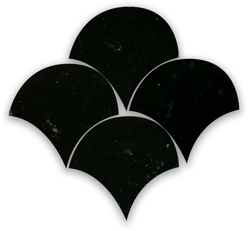 Zellige Noir Poisson Echelles 10x10cm