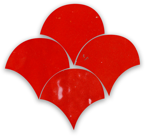 Zellige Rouge Sang Poisson Echelles 10x10cm