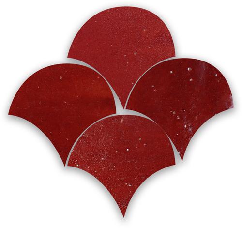 Zellige Bordeaux Rouge Poisson Echelles 10x10cm