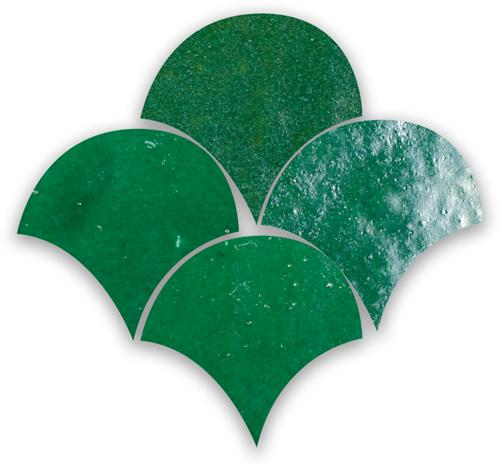 Zellige Vert Foncee Poisson Echelles 10x10cm