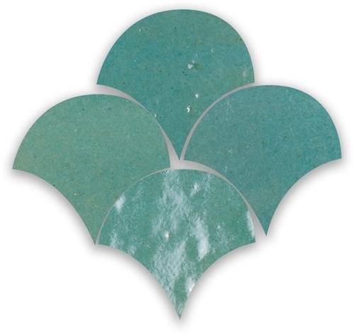 SAM Zellige Vert Gris Poisson Echelles 10x10cm