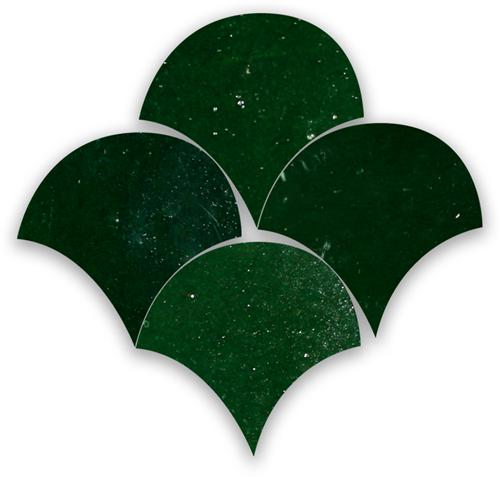 Zellige Vert Mousse Poisson Echelles 10x10cm