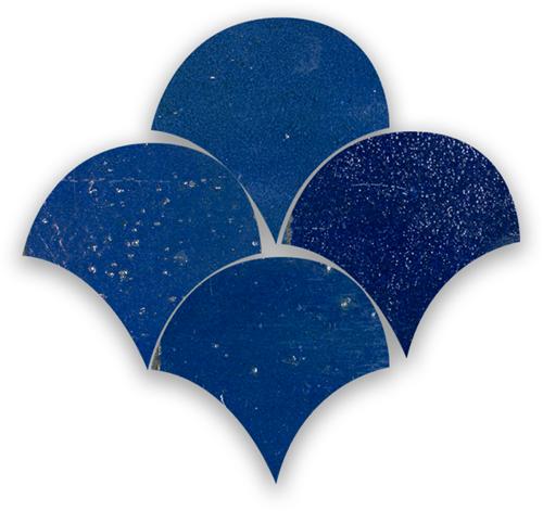 Zellige Bleu Foncee Poisson Echelles 10x10cm