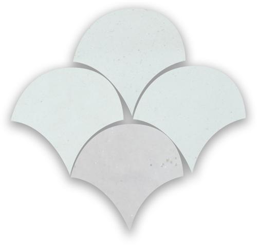 Zellige Neige Blanc Poisson Echelles 5x5cm