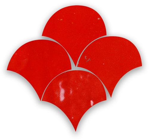 Zellige Rouge Sang Poisson Echelles 5x5cm