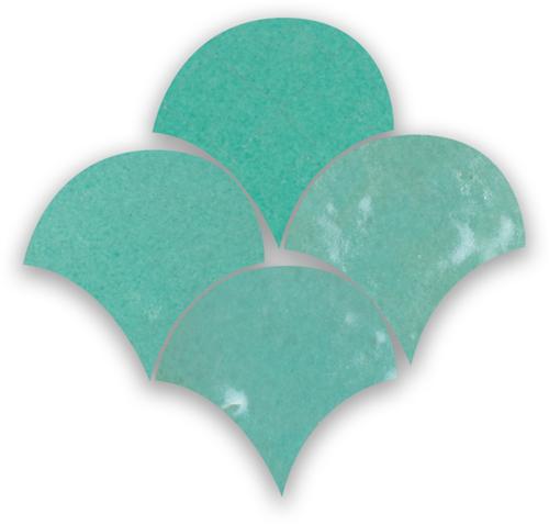 Zellige Vert Turquoise Poisson Echelles 5x5cm