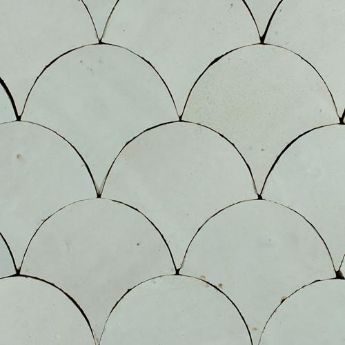 SAM Zellige Blanc Poisson Echelles 10x10cm