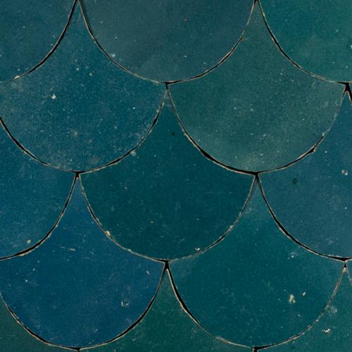SAM Zellige Bleu Marine Poisson Echelles 10x10cm
